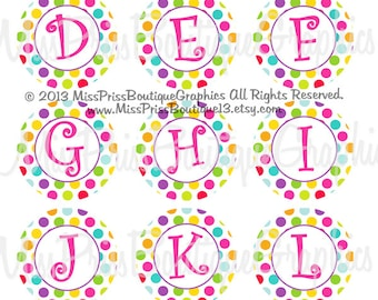 4x6 - EASTER DOTS ALPHABETS - Instant Download - Full Alphabets -  One Inch Bottlecap Graphic Digital Image Collage Sheet -  No.920