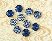 10pcs handmade assorted blue texture round clear glass dome cabochons / Wooden earring stud 12mm (12-0767)