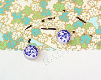 Sale - 10pcs handmade small blue flowers parsley clear glass dome cabochons 12mm (12-0323)