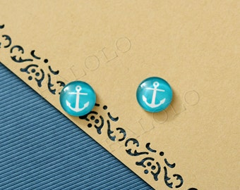 10 pcs lake blue anchor Cabochons 12mm (12-0752)