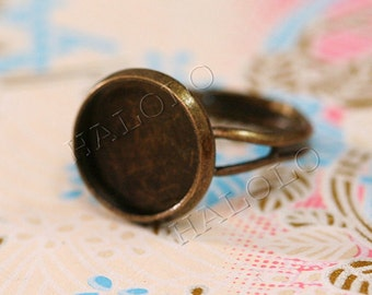 10pcs antique bronze finish adjustable ring blanks - for 12mm Cabochons R29F