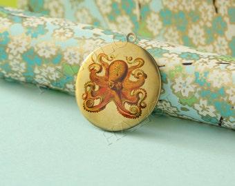1pc Octopus round antique brass locket 32mm (LD038)