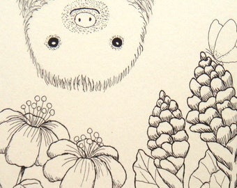 Sloth Illustration Print Sloth Drawing Print Nursery Art Black & White Ivory Home Wall Decor Funny Cute Sloth Smile Jungle Flowers 4x6 MiKa
