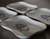 Mid Century Modern - Appetizer Plates - Japan - Blue and White China