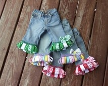 HOLIDaY  assorted RIBbON FRINgE JEaNS in sizes  0-3-6-9-12-18-24 mth 2T 3T 4 5 6 7 8   St. Pats Valentines Spring Easter