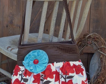"""The """"BETH""""  Bag  in brown, red, aqua fabric with shabby flower accent"""