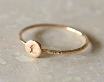 Monogrammed Initial Ring - Gold-Filled