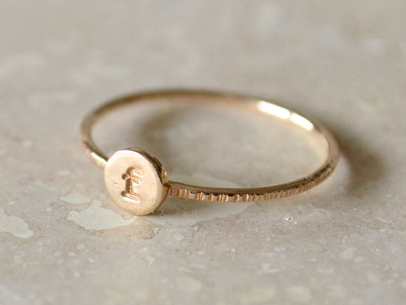 Custom Initial Ring, Personalized Stacking Letter - Gold-Filled