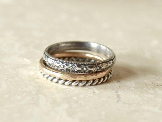 Bohemian Ring Stack - Silver and Gold