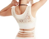 White Women top with upper back Crochet/lace detail, MEDIUM