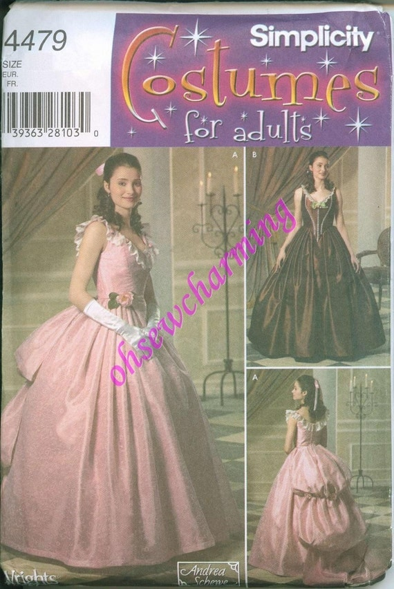 Oop Victorian Era Gown Costume Sewing Pattern Simplicity 4479