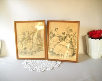 Vintage Prints 1800s Ladies Le Bon Ton Godey Fashion Victorian Prints Shabby Chic Cottage Style