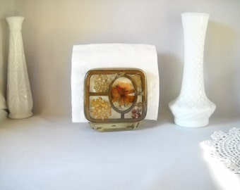 Vintage Napkin Holder Letter Holder Vintage Resin Acrylic Napkin Holder  Dried Flowers Retro