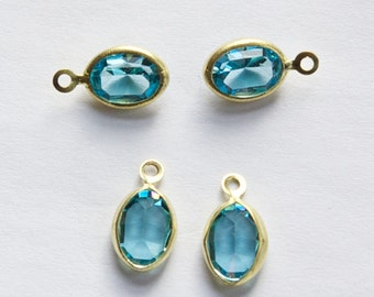 1 Loop Faceted Aqua Blue Swarovski Glass Channel Set Charms Drops cha005G