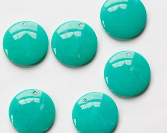 Vintage Teal with White Acrylic Circle Charms Drops pnd161J