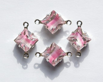 Pink White Givre Square Glass Stones 2 Loop Silver Plated Setting 8mm squ008PP2