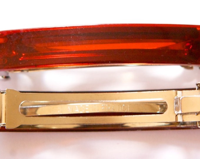 Vintage Made in France Barrettes with Tortoise Brown Acrylic Top Base (2) fnd021A
