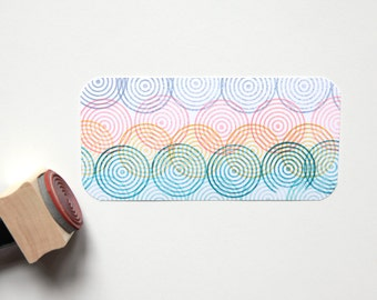 Concentric Circles Rubber Stamp (Wood Mounted) 1 inch Geometric Shape with optional wooden handle, Petites Collection (SP607) DIY Stationery