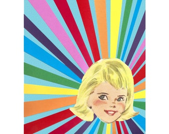 Rainbow Girl // Nursery Art // Collage Art Print // Bright Home Decor // Blonde
