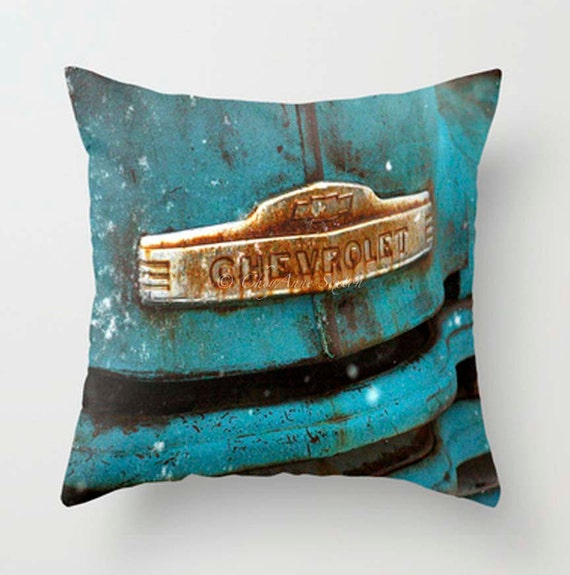 Man Cave Pillows : Items similar to man cave pillow case old chevy rusted