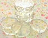 Clear Glass Wafers - Set of 15 Large Thin and Flat - Great For Pendants and Magnets