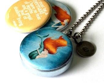 Mermaid Jewelry, Mermaid Necklace, Mermaid Locket, I Must Be A Mermaid, Mermaid Art, Anais Nin Quote, Magnetic, 3 in 1, Recycled Steel, Gift