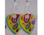 Guitar Pick Earrings Psychedelic Butterfly Recycled Sterling Silver