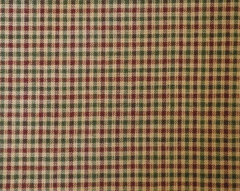 Homespun Material Red And Green Small Check 33 x 44
