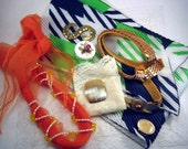 Vintage Scarves and Scarf Clips Lot 1970 1980 Orange Beads White Navy Green Cream Lace Belt China Pocket Square Stretchy Headband Pearl