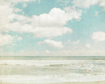 Ocean photography, beach photo, powder blue, beige, waves, tide, clouds, pastel shades, North Carolina, Atlantic, meditation