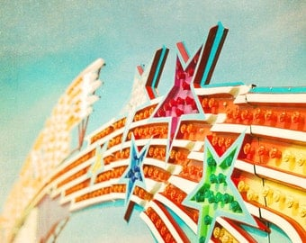 Carnival photography, A4 print, European, metric, summer colors nursery art star  green yellow red blue vintage film photography