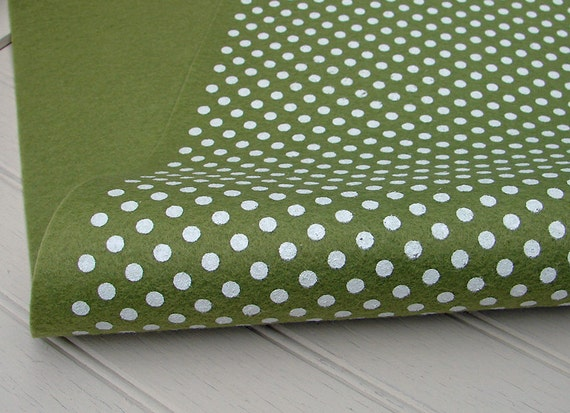 Polka Dot Wool Felt Sheets - Pea Soup with White Polka Dots - 12x18 ...