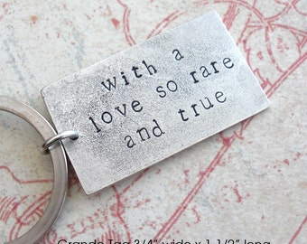 Love so Rare and True .. PENDANT ONLY .. Silver Grande Pendant . Hand Stamped . Antiqued Metal Tag . Customize Your Inspirational Saying