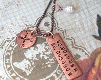GPS Coordinates Necklace with Compass Point and Pearl . Hand Stamped antiqued charms . long pendant copper, silver, gold . Custom Lat Long
