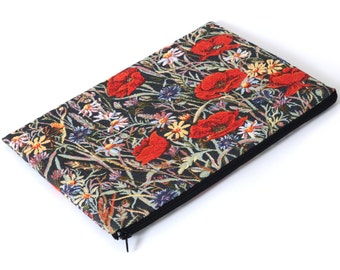 SALE! MacBook 13 Air Cover, Sleeve, Case upholstery fabric Red Poppies
