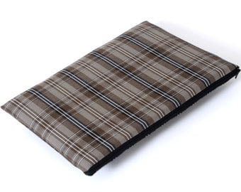 SALE! MacBook 13 Air Cover, Sleeve, Case, Bag grey brown chequered fabric