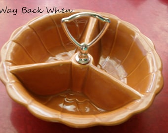Vintage Serving Dish with Handle,1950s, Scalloped, Tri Sectional, Burnt Orange, Candy Dish, Dip Bowl Tray, Thankgiving, Retro