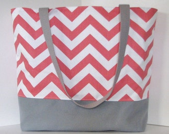 Set of 7 Chevron Tote Bags . Coral and Gray . chevron Beach bag . Standard size . Great bridesmaid gifts MONOGRAMMING Available