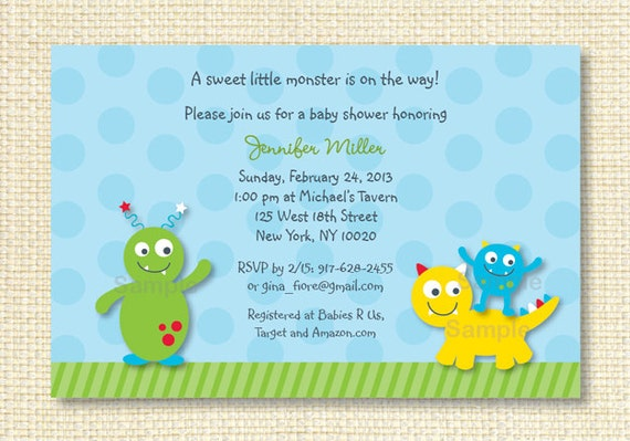 lil monster baby shower invitation printable by little prints inc