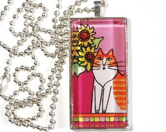 Cat Jewelry/ Longhair Orange White Cat with Sunflower/ Glass Pendant by Susan Faye