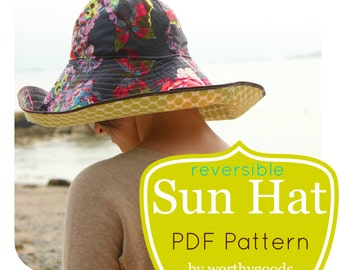 Sun Hat PDF Pattern - Womens Over the Top Sunhat DIY Sewing Project Tutorial - Gardening Hat Digital Download
