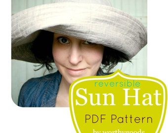 Gardening Hat PDF Pattern - Womens Over the Top Quick Sunhat DIY Sewing Project Pattern - Digital File Download
