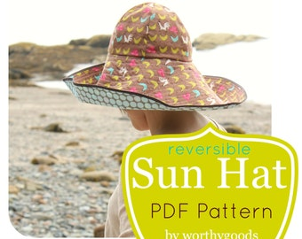 Sun Hat PDF Pattern - Womens Over the Top Sunhat DIY Sewing Project Pattern - Floppy Hat Digital File Download