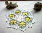 Daffodil Crochet Lace Thread Art Doily New Handmade