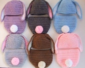 Crochet Easter Bunny Baby Hat - Diaper Cover - You Pick Size and Color - Ready to Ship