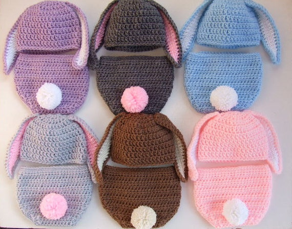 Free Crochet Pattern For Bunny Ears And Diaper Cover : Crochet Baby Easter Bunny Hat Diaper Cover Photo Prop