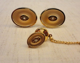 Vintage Mens Anson Cuff Links & Tie Tack - Gold Oval with Diamond Chip