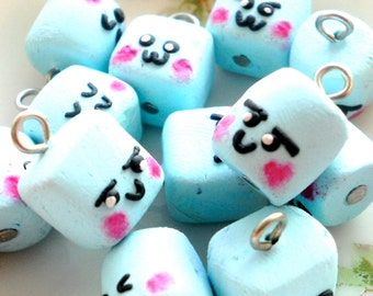 Kawaii Marshmallow Charms - 12pcs Assorted Faces - Blue