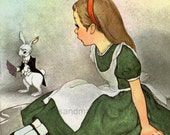 Vintage 1950s Alice in Wonderland and the White Rabbit  Childrens Book Illustration by Marjorie Torrey Pool of Tears to Frame