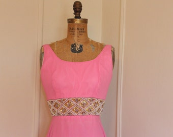 1960s Pink Beaded Party Dress - size small to medium